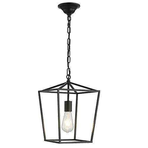 ANJIADENGSHI Vintage Lantern Pendant Light Lantern Iron 1 E26 Bulbs Lantern Chandelier for Dining Room Kitchen, Matte Black