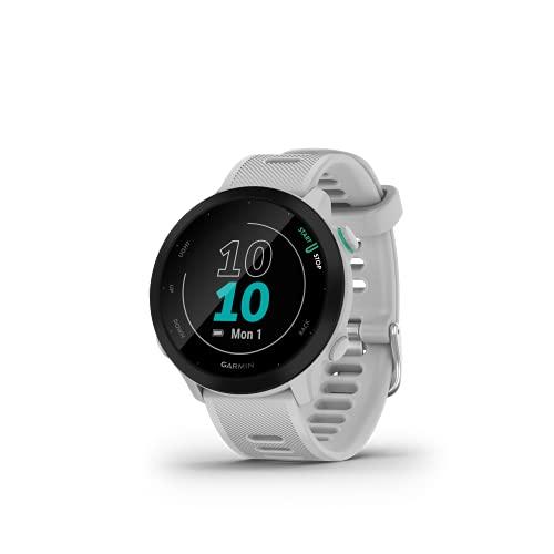 Garmin Forerunner 55 - Reloj Inteligente para Running con GPS, Planes de Entrenamiento, notificaciones y Seguimiento del Bienestar, Blanco
