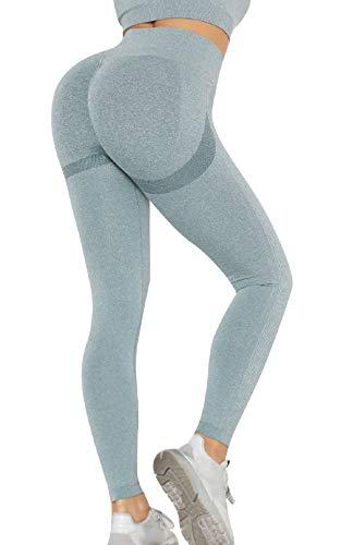 CMTOP Pantalón Deportivo de Mujer Mallas para Running Training Fitness Estiramiento Yoga Leggins Pantalon Push up Deporte Cintura Alta Pantalones Deporte (Azul, S)