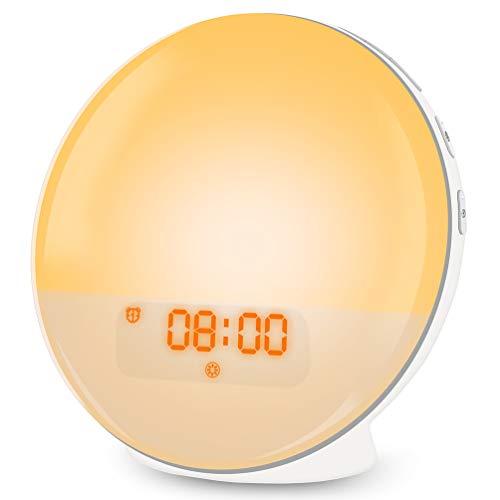 Lichtwecker, LED Wake Up Light Wecker mit Sonnenaufgangssimulation, FM Radio Wecker mit Licht 7 Farben, 7 Wecktöne Digital Uhr Alarm Clock Tageslichtwecker Nachtlicht Nachttischlampe für Kinder
