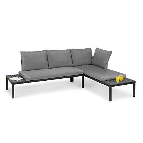 blumfeldt Cartagena Lounger, Gartenliege, Lounge-Set: 2 Zweisitzer + Tisch / 2 Auflagen / 4 Kissen, modular, Sitzgarnitur: für 4-6 Personen/Loungeliege: für 2 Personen, grau