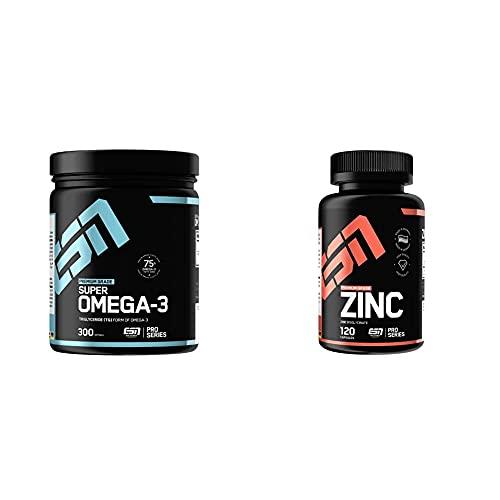 ESN Super Omega-3, 300 Kaps., 440 g & Zinc, Pro Series, 120 Kapseln, 1er Pack (1 x 90 g)