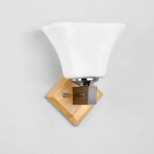 LXDBD Modern minimalist bedroom bedside wall lamp warm wooden aisle lights Chinese style solid wood lamp IKEA hotel lamps