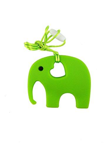 Mordedor en Forma de Elefante para Bebés - Silicona Orgánica y Natural, Antibacteriana, sin BPA - Ayuda a Prevenir el Dolor de Dientes y Encías del Bebé, Estimula la Dentición - Verde