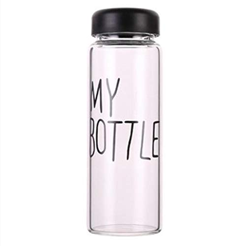 Xinjieda 420ml transparente Wasser Cup Students Letters Muster-Sommer-Flasche mit nach Hause im Freien beweglichen Cup