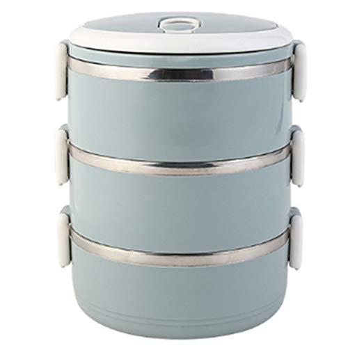 3 Capas Fiambrera Hermetica TéRmicas Cajas Bento Lunch Box TéRmicas a Prueba de Fugas Termo Solidos - Recipientes Termicos Comida para NiñOs Adultos Camping Viajes de Picnic (Azul)
