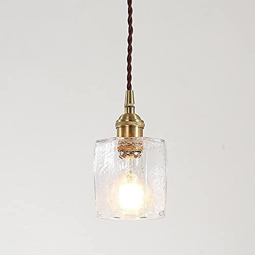 Cubo de hielo del norte araña congelado cuadrado de vidrio colgante ligero láctea japonés de madera lámpara de hilo cuerda titular de cobre kit de iluminación...