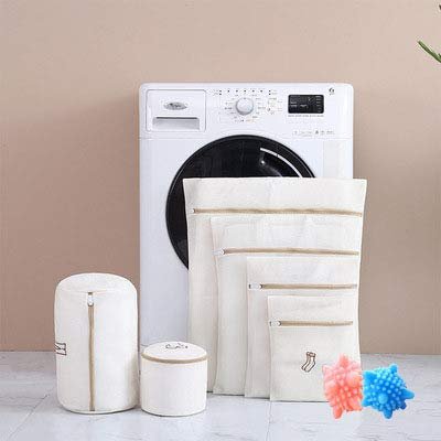 WAFJAMF 洗濯ネット ランドリーネット 洗濯袋セット 6枚入+2洗濯 ボール(色がランダム) 洗濯用品 家庭用 旅行収納袋 型崩れ防止 絡み防ぎ 丈夫 耐久性 洗濯機用最適(ベージュ, 6セット)
