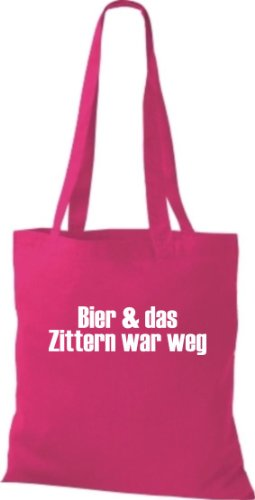 Stoffbeutel BIER & DAS ZITTERN WAR WEG Baumwolltasche, Beutel, Umhängetasche, Farbe pink