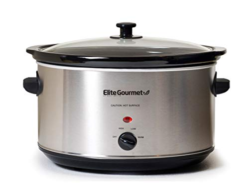 Elite Gourmet Stainless Steel Slow Cooker, Dishwasher-Safe with Tempered Glass Lid, Cool-Touch Handles, Removable Stoneware Pot, 8.5 Quart,MST-900V