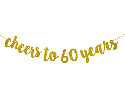FECEDY Gold Glitter Cheers to 60 Years Banner for 60th Birthday Party