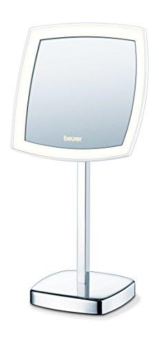 Beurer BS 99 beleuchteter Kosmetikspiegel mit LED-Licht, Standfuß, 5-fache Vergrößerung, Schminkspiegel mit idealem Licht zum Auftragen von Make-Up