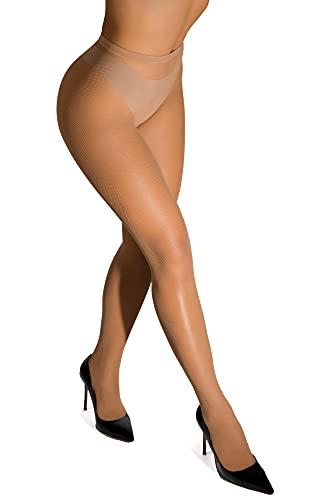 sofsy Micro-Netzstrumpfhose mit hoher Taille für Damen - [Made In Italy] Braun Tan 3/4 - Medium/Large