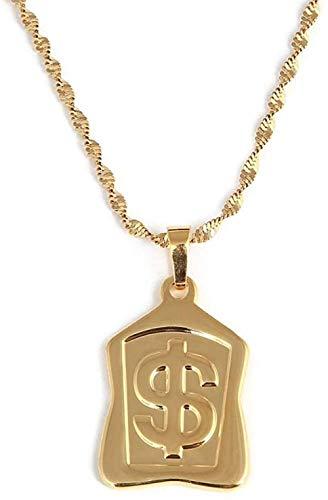 NC190 Hip Hop Color Dorado Signo de dólar $ Coin Colgantes & amp Collares Cadena Collar Llamativo para Mujer Hombre