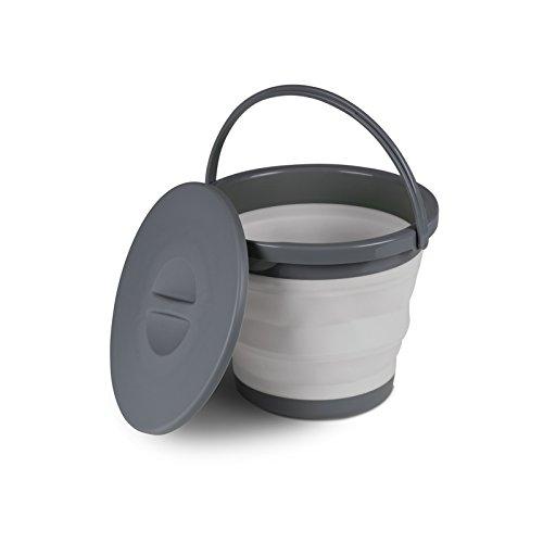 Siehe Beschreibung Leichter, Faltbarer 5L Eimer in grau mit Griff und Deckel aus umweltverträglichem TPR • Wassereimer Haushaltseimer Campingeimer faltbar Camping Outdoor
