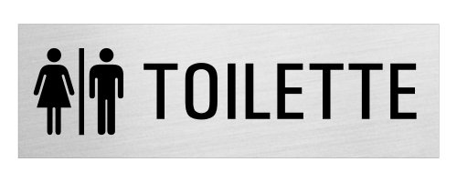 """OFFORM Targa autoadesivo in acciaio inox /Ø 75 mm No.8471 /""""Toilette Donne Uomini/"""""""