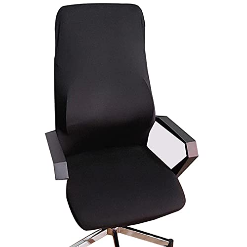 fourseasons Office Computer Chair Cover, Universal Replacement Removable Rotating Stretch Resilient Desk Boss Armchair Chair Cover Slipcover (Black L)