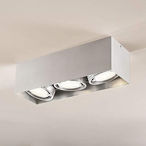 Arcchio LED Deckenlampe 'Rosalie' dimmbar (Modern) in Alu aus Aluminium u.a. für Küche (3 flammig, GU10, A+, inkl. Leuchtmittel) - Deckenleuchte, Wandleuchte, Strahler, Spot, Lampe, Küchenleuchte