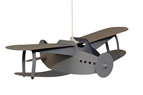 R&M Coudert - Lámpara de techo para habitación infantil, diseño de avión, color gris