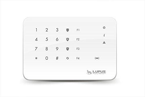 LUPUSEC 12109 Outdoorkeypad V2 für die XT Smarthome Alarmanlagen, 4 Automationstasten, Relaisausgang, wetterfest, Batterie- oder Netzbetrieb, Modell 2017, Weiß