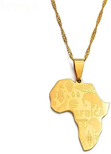 banbeitaotao Collar Mapa de África Collares Pendientes Mujeres Hombres Joyería de Color Dorado Mapa de Collares africanos Collar