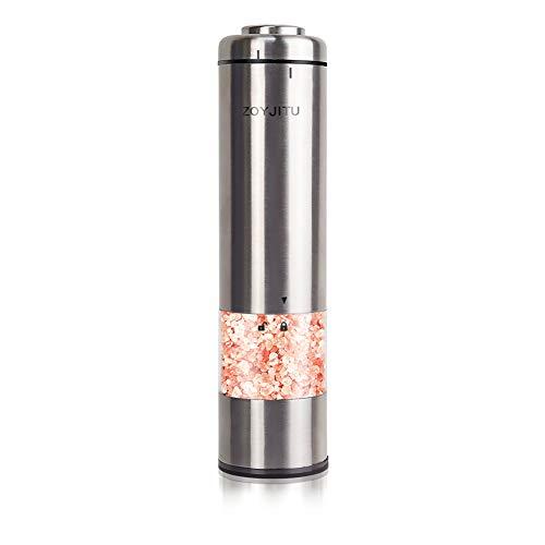 ZOYJITU Pfeffermühle Elektrische Batteriebetrieben Salz und Pfeffer Einstellbare Feinheit Gewürzmühle Keramikmahlwerk Edelstahl