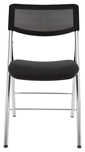 ALBA Chaise Pliante en Acier et Tissu Maille, Noir, 48x53x83 cm
