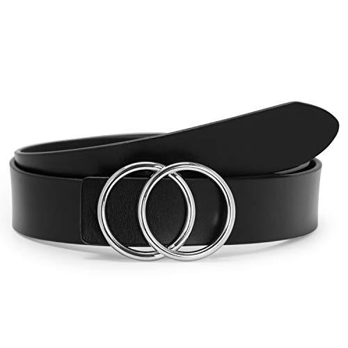SUOSDEY Stilvolle Gold Doppel Ring Schnalle Gürtel für Frauen Ledergürtel für Jeans Kleid Hosen Gürtel Breite 3,3 cm,Schwarz mit Silberring,XL