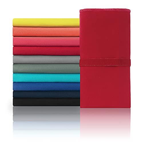 Blumtal Set de 2 Toallas de Microfibra - Toalla para Gimnasio, Playa, Camping o Viajes. Toalla de Secado rápido, Compacta, Ultraligera y Superabsorbente, Rojo Oscuro, 80 x 40cm (2X)