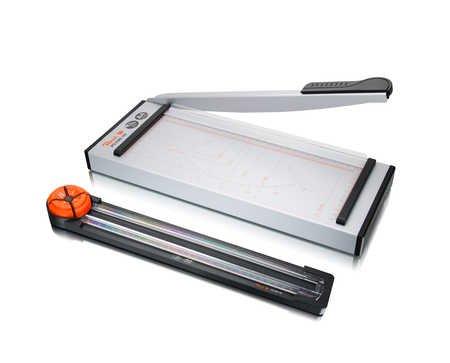 Peach PC100-18 Hebel- und Rollenschneider | 2-in-1 |Hebelmesser schneidet 6 Blätter | Rollenmesser schneidet 5 Blätter |1 Set für 4 Schnittarten