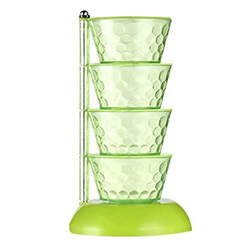 Caja de almacenamiento de condimentos de especias giratoria Suministros de cocina de plástico Recipientes de condimentos transparentes Tarro para azúcar Sal Pimienta Comino-ESPAÑA, Verde-Cuatro capas