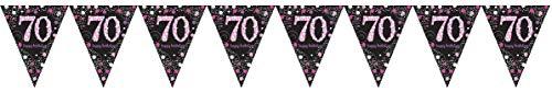 Amscan 9901740 wimpelketting roze celebration 70 jaar