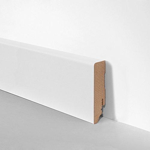 MDF-Sockelleiste Scheuerleiste Fussleiste gerade weiß 19 x 70 x 2400 mm