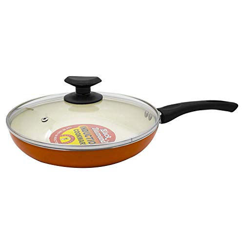 Black Diamond Ceramic Fry Pan (Cf22) Non Stick Heavy Induction Base Cook & Serve with Glass Lid 1.7 Liters