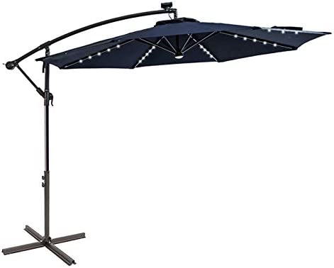 C Hopetree 10 ft Offset Cantilever Outdoor Patio Umbrella with Solar LED Lights with Cross Base product image