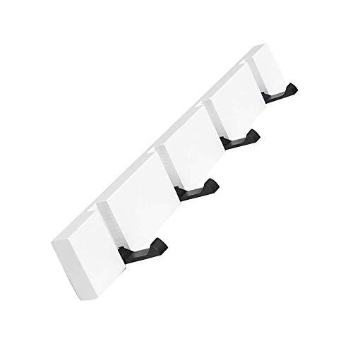 QINGJIANG - Perchero de Pared Plegable para Colgar Ropa, Sombreros, toalleros, Blanco, 4 Hook