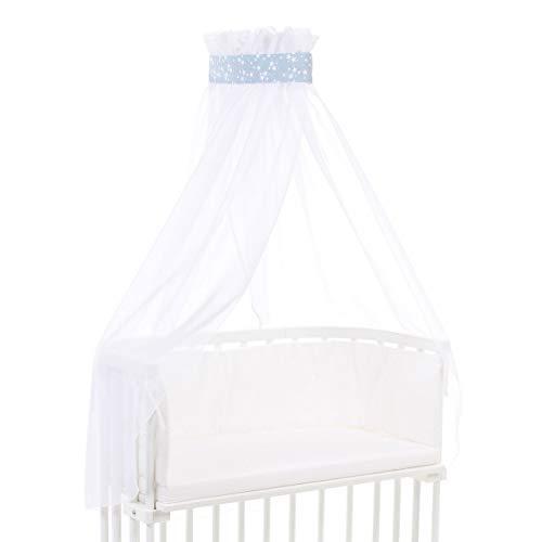 Ciel de lit babybay piqué avec ruban adapté aux modèles Original, Maxi, Boxspring, Comfort, Comfort Plus et Midi, bleu ciel avec étoiles blanches