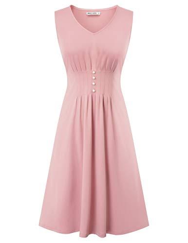 Retro Kleid a Linie v Ausschnitt Kleid Damen 50s Kleid a Linie trägerkleider Fashion Kleid CL2244-2 S