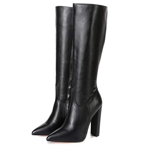 GIARO TAKEN Premium Stiefel für Damen - elegante High-Heels - Kniestiefel mit hohem Absatz - Damenstiefel - Stöckelschuhe für Frauen - erhältlich in 11 Farben (Schwarz Matt, numeric_44)