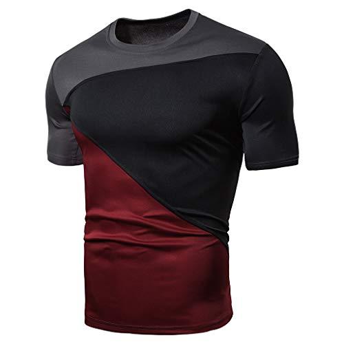 Xmiral T-Shirt Uomo,T-Shirt Divertente Uomo,T-Shirt Basic,T-Shirt Girocollo Semplice,Simple Tee, Maglietta a Maniche Corte, Uomo M Nero