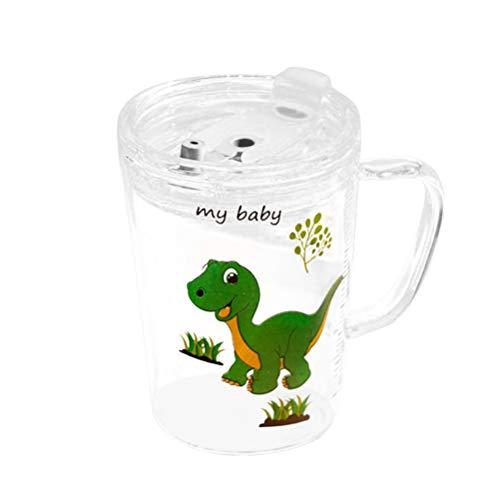 UPKOCH - Bicchiere in Vetro con Cannuccia e Coperchio per microonde, Bella Tazza da Latte per Bambini, Grande capacità, con Bilancia per Neonati (Dinosaure)