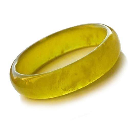 KUNZE Damen Armreifen, Armband aus chinesischer gelber Jade für Frauen, handgefertigter Mädchenschmuck mit Geschenkbox (58-62 mm)