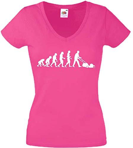 JINTORA T-Shirt - Chemise Femme Rose - V-Cou - Taille L - Evolution Tondeuse à Gazon - JDM/Die Cut - pour la fête Carnaval Travail et Loisirs