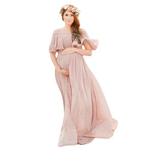 Rüschen Off Shoulder Kleid Lang Umstandskleider Hochzeit Fotografie Schwangerschaftskleid Umstands Strandkleid Elegantes Kleider für Festliche Anlässe Rosa Cocktailkleid Abendkleid Chiffon