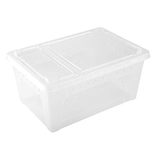 Duokon Futterkasten Reptilkäfig Luke Container Kunststoff Belüfteter Futterhalter für Terraristik Eidechse Spinne Skorpion(Weiß)