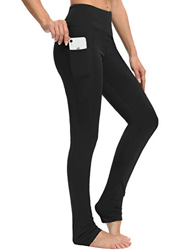 Sevego Damen extra Lange Yoga-Leggings mit Taschen Leggings mit Ferse für Ballett Tanz Sportliche Workout-Hose, Schwarz, L