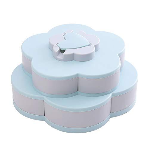 Trafagala Blumen-Form drehbarer Deckel Candy Box Kreative Rotary Switch Storage Teller Home Snacks Trennwand Organizer Box Party Hochzeit Candy Tray (Blau,30x30x15cm)