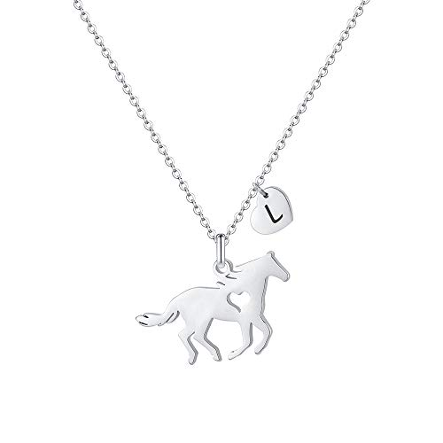MONOOC Horse Necklace for Teen Girls, Horse Necklace with Initial Horse Lovers Gifts for Girls L Letter Necklace Heart Initial Necklace for Kids Horse Jewelry for Kids