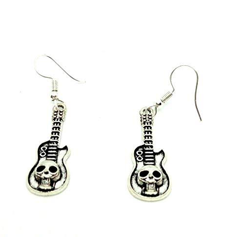 Pendientes de guitarra eléctrica con diseño de calavera en plata de ley y ganchos para músicos de metal pesado