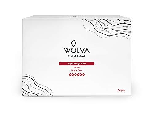 Compresas de noche Wolva, ecológicas con alas, de algodón orgánico, biodegradables y sin CO2, 34 uds